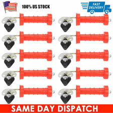 10Pcs Large Insulated Spring Gate Handles With 10 Insulators For Electric Fence