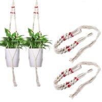 US Modern Pot Garden Holder Plant Hanger Flower Legs Hanging Macrame Rope Basket