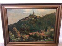 "🔥 Antique German European Impressionist Oil Painting ""Castle Olderhausen"" 1921"