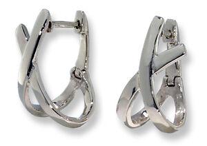 14k White Gold Huggies X-Shape Huggie Hoop Earrings Lever Back