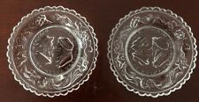"""Vintage Westmoreland Cup Plates Clear """"The Wedding Day & Three Weeks After"""" (2)"""