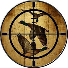 """Duck in Scope Crosshairs 12"""" Round Metal Sign Hunter Target Hunting Home Decor"""