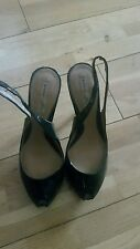 ZARA USED OLIVE GREEN PATENT LEATHER PEEP TOE STILETTO HEEL SHOES UK5 EU38 ZJ49