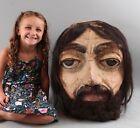 Antique Large Folk Art Paper Mache Painted Carnival Mardi Gras Goliath Head