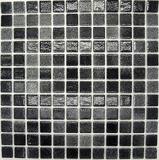 12 Sheets HOMEBASE Black Glass Mosaic Wall Tiles - 316mm x 316mm Full Sheet