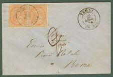 DE LA RUE. Lettera del 24 maggio 1864 da Terni per Roma. Affrancata con coppia..