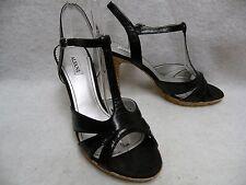Alfani High Heel T-Strap Sandals 8.5M Black Leather w/ Cork EC Clean