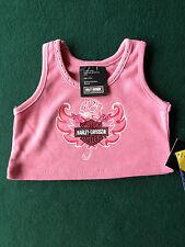 Build a Bear Pink Harley Davidson Rose & Wings Studded Tank Top Shirt NEW