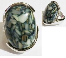 bague couleur argent pierre marbré ovale bleu gris/beige taille 55 ring * 5094