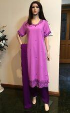 "40"" M-L Salwar Kameez Indian Ladies Party Wear Bollywood Purple Dress A2"