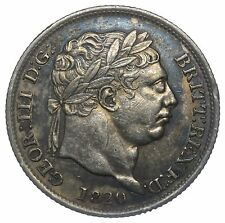 1820 SHILLING - GEORGE III BRITISH SILVER COIN - V NICE