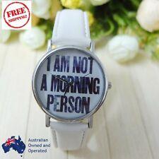 Women Men White Leather Casual Quartz Watch I am not a morning person Wristwatch