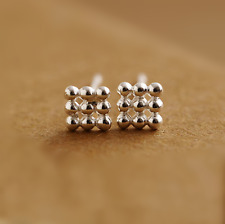 Solid Sterling Silver 3 x 3 Nine Ball Bead Balls Square Cube Stud Earrings Boxed