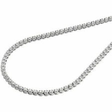 10K White Gold Mens Prong Set 1 Row Genuine Diamond Chain Tennis Necklace 5 Ct.