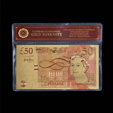 WR Colorized UK £50 Gold Banknote Gold Plated British Pound Note Gift +COA Frame