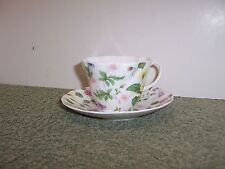Rosina Queens Country Meadow Tea Cup & Saucer Pink Lavender Yellow Blue