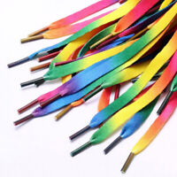 1pairs Rainbow Flat Canvas Athletic Shoelace Sport Shoe Laces Boots Strings Ca
