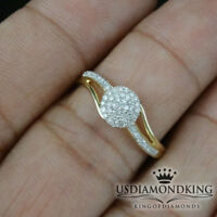 Ladies Genuine Diamond & Real 10k Yellow Gold Engagement Promise Ring Band New