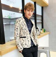 Fashion Men's Fashion Floral 1 Button Slim Fit Party Blazer Wedding Jacket Coats