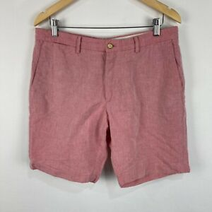 Massimo Dutti Mens Linen Blend Shorts 34 Pale Red Zip Closure Bermuda Pockets