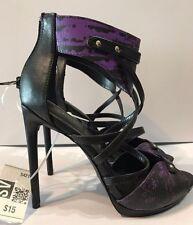 "Scene High Heels Women's Charity Shoedazzle Size 8 US Black Purple 5"" Stilettos"