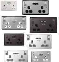 Masterplug Metal Double socket with USB sockets Brushed steel Polished Chrome