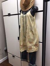 Flax Jeanne Engelhart P CITRON Hanky Linen Double V Neck Cami Tunic Dress