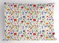 Watercolor Garden Pillow Sham Decorative Pillowcase 3 Sizes Bedroom Decor