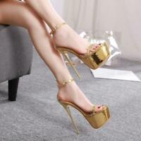 Womens Metal Transparent Super High Heel Stilettos Open Toe Sandals Sexy Shoes