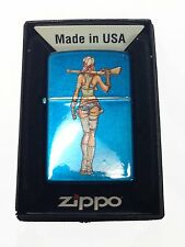 Zippo Custom Lighter Sexy Zombie Hunter Babe Chick Gun Cerulean Blue Pocket New