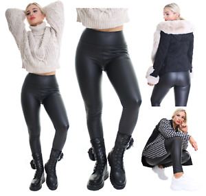 Ladies Black Faux Leather Leggings Wet Look Shiny Stretchy Tight Pant High Waist