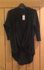 New Look Black Knit Wrap over Top, Size 6, New with Tags