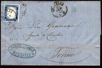 1863 - Lettera da Vercelli resa franca con cent.15 (Sassone n.11) - uso isolato