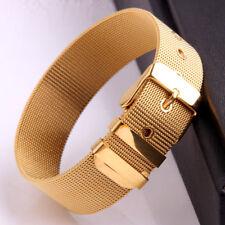 Fashion Stainless Steel 18mm Belt Buckle 18K Gold Plated Women Bangle Bracelet