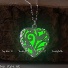 Green Glow in the Dark Necklace Unique Heart Birthday Christmas Gift Present