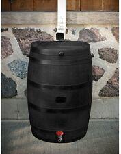 50 Gal Rain Barrel Black Polyethylene Weather Resistant Flat Back Regular Hose