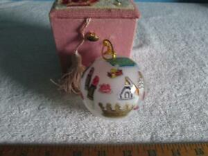 White Plastic Christmas Ornament In Pink Box W/ Cross Stitch Lid