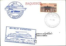 MS OLAU BRITANNIA Schiffsmotiv & Schiffsstempel Bordpost auf Postkarte gelaufen