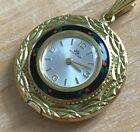 VTG Bucherer Swiss Gold Tone Enamel Art Hand-Wind Necklace Pendant Pocket Watch