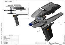 DIY KIT Beyond Phaser - Star Trek - Cosplay - 3d printed +moving part+LEDs+Stand
