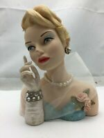 "Cameo Girls Lady Head Vase Blythe 1953 ""Blonde Enchantress"" COA - 6.1/2"" Tall"