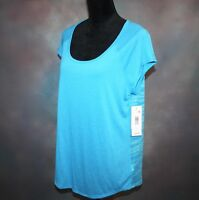 NWT! MTA Sport Women's Large Top Fast Dri Open Back Blue Workout Athletic Shirt