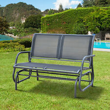 Double Metal Glider Bench Chair Patio  Rocker Heavy-Duty Outdoor Garden Patio