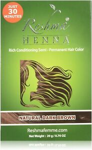 Reshma Femme Henna Semi-Permanent Hair Color, Natural Dark Brown 0.70 oz