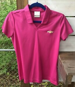 Nike Golf Dri-Fit Chevrolet Logo Wm. Small P CH Pink Pullover Top embroidered SS