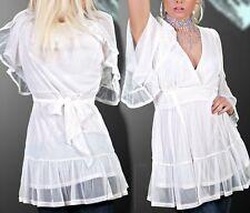 Sexy Miss Damen Chiffon Tunika Shirt Bluse Volant Flatter Arm S/M 34/36 TOP weiß