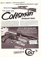 1958 Coltsman Sporting rifle ad Colt Firearms Vintage  Cabin Art