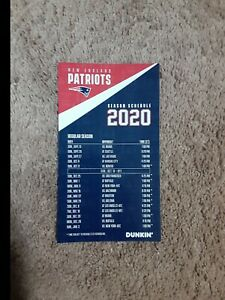 2020 New England Patriots (NFL) Dunkin' official team magnet schedule