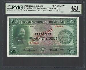 Portuguese Guinea 20-11-1958  500 Escudos P39s Specimen Uncirculated Grade 63