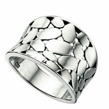 Sterling Silver Wide Textured Ring 925 Hallmarked Size K - S